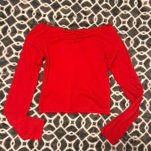 Long-sleeve off the shoulder cropped top